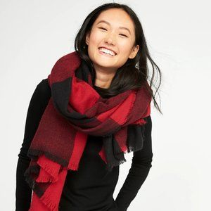 Old Navy  Oversized Buffalo Check Red & Black Scarf NEW